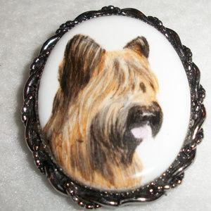 Vintage Handpainted Porcelain Dog Brooch